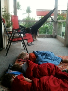 Sleeping out on the lanai during the Geminid Meteor showers.  We saw tons of shooting stars!