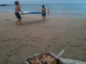 Cinnamon rolls on the beach Christmas morning